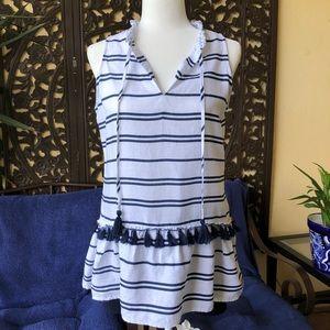 ⚓️ Charter Club Striped Linen Sleeveless Tunic